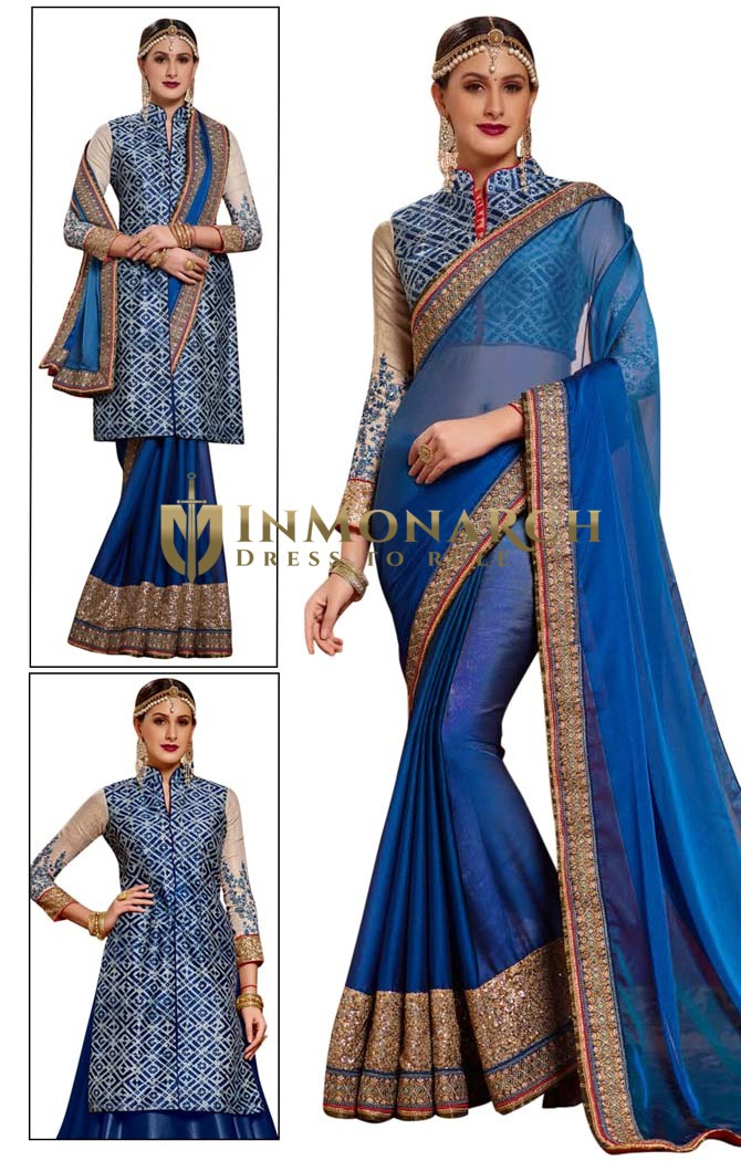 Royal Blue Chiffon Designer Bridal Saree