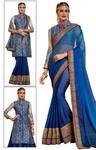 Royal Blue Chiffon Designer Bridal Saree