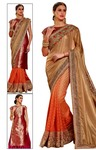 Peach and Beige Half & Half Bridal Saree