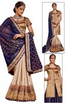 Cream and Navy Blue Georgette Saree
