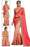 Peach and Salmon Wedding Saree
