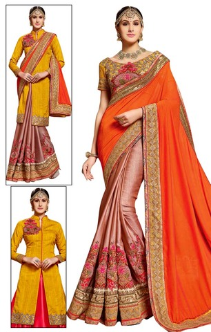 Orange & Peach Half & Half Partywear Saree