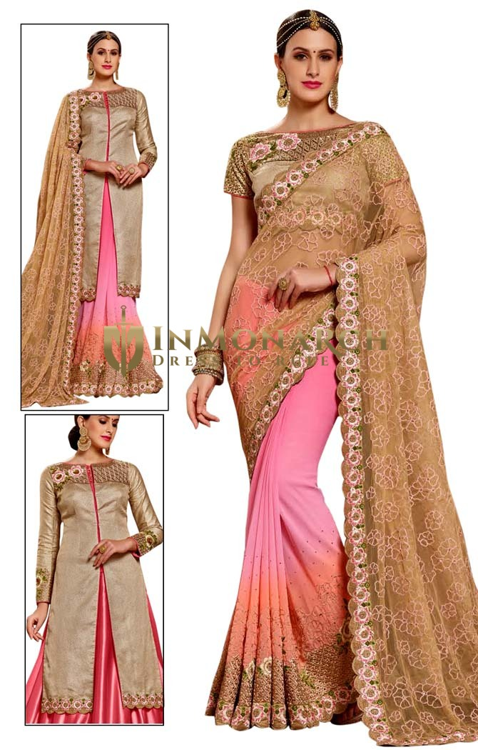 Pink and Beige Net Georgette Bridal Saree