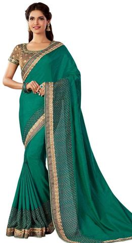Green Dual Tone Silk Wedding Saree