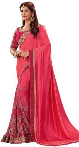 Pink Dual Tone Silk & Net Partywear Saree