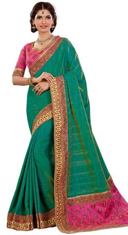 Green and Pink Dual Tone Silk Wedding Sari