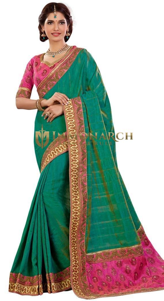 Green and Pink Dual Tone Silk Wedding Sari