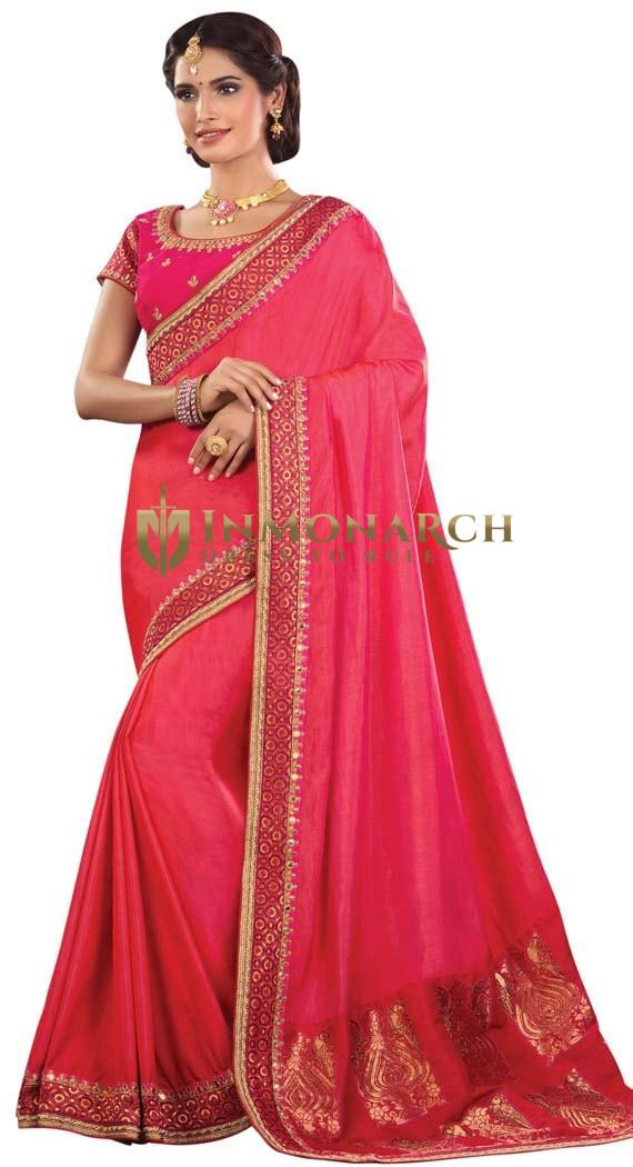 Pink Dual Tone Silk Wedding Saree