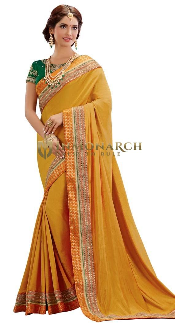 Yellow Dual Tone Silk Wedding Saree