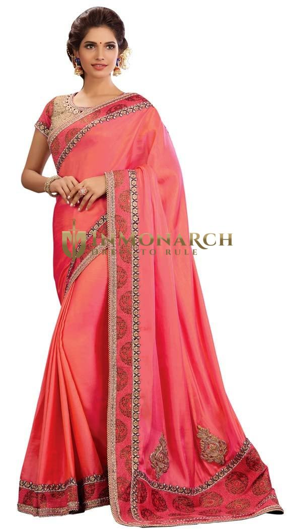 Traditional Pink Dual Tone Silk Saree