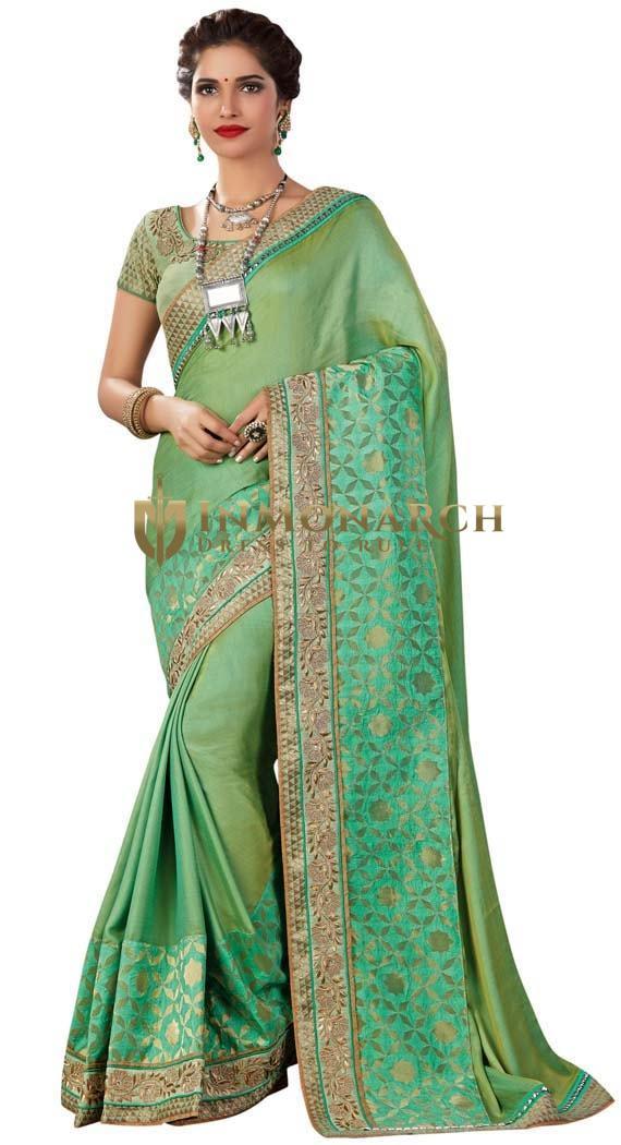 Green Dual Tone Silk Partywear Saree