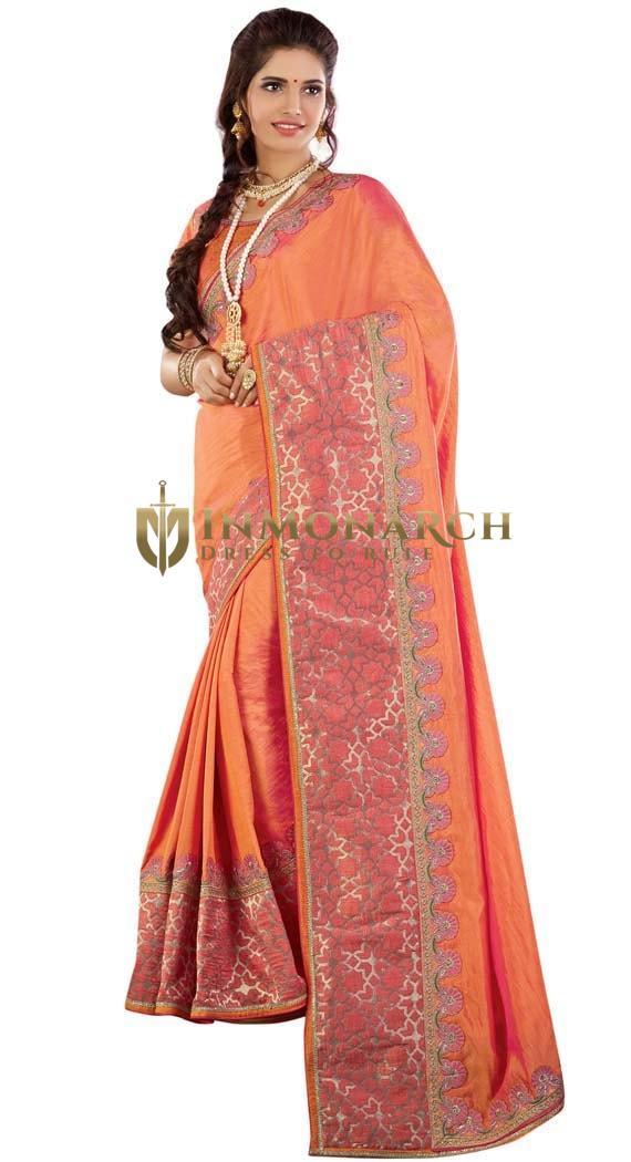 Orange Designer Party Wear Saree