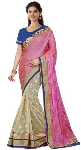 Partywear Beige and Pink Silk Saree
