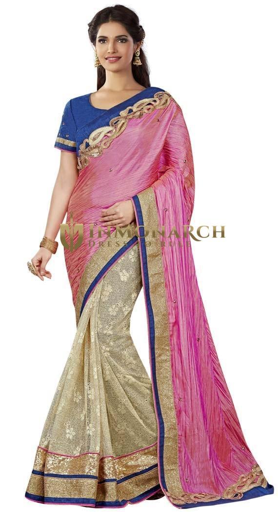 Partywear Beige and Pink Silk Saree