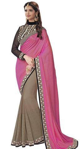 Wedding Pink Dual Tone Silk Saree
