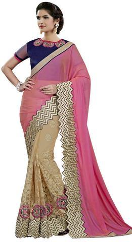 Pink & Beige Dual Tone Silk Sari