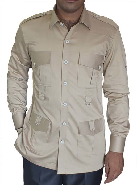 Khakhi Cotton 4 pocket Safari Shirts