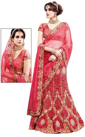 Heavy Work Crimson Digital Net Lehenga
