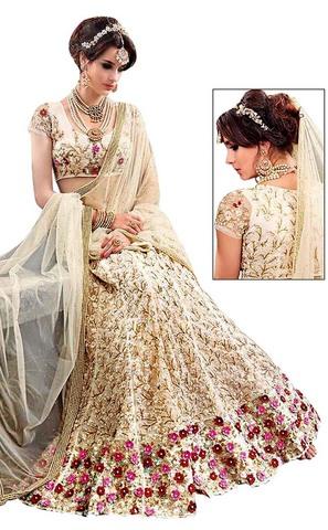 Indian Net Beige Wedding lehenga Choli