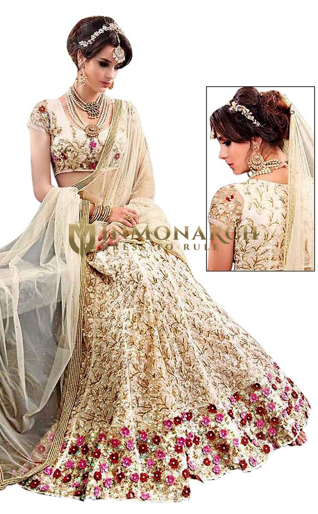 Indian Net Beige Wedding lehenga Choli
