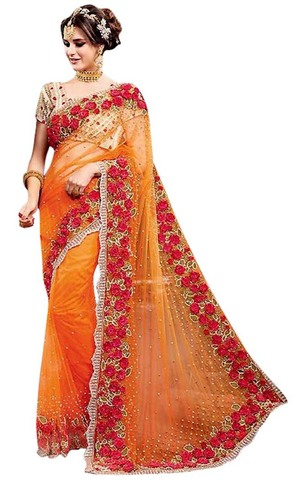 Orange Net Heavy Work Bridal Saree