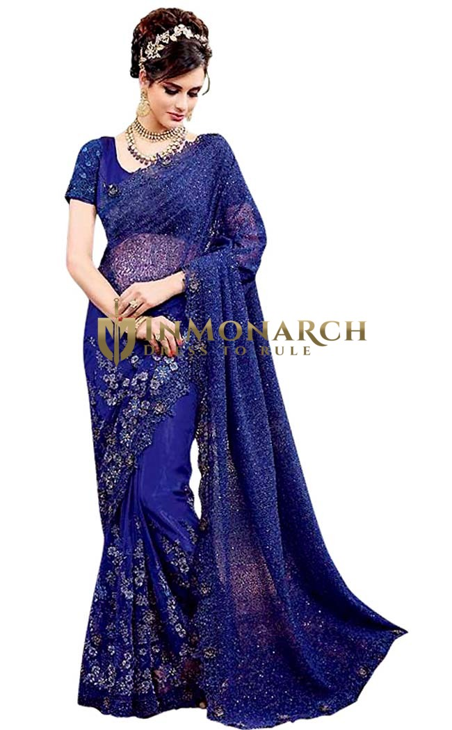 Royal Blue Designer Net Saree