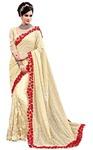 Cream Digital Net Wedding Saree