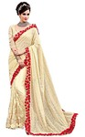 Cream Digital Net Wedding Saree