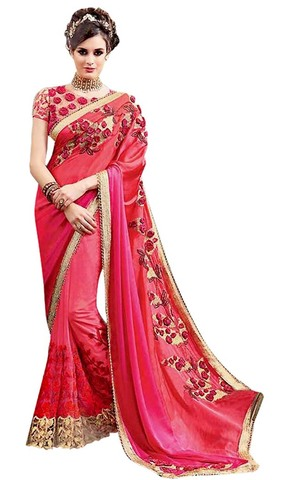 Bridal Crimson Red Heavy Work Saree