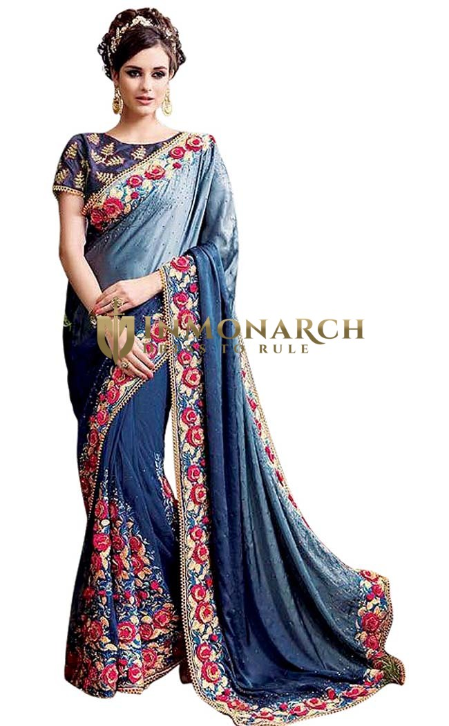 Wedding Wear Navy Blue Net Bridal Sari