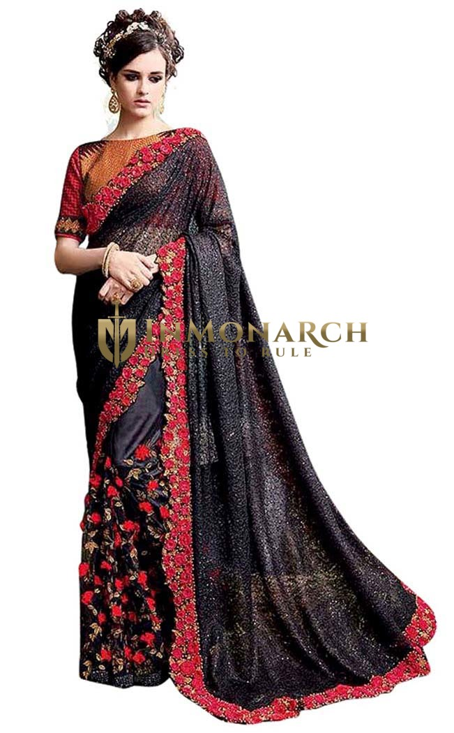 Stylish Black Net Bollywood Saree