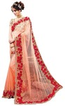Designer Peach Net Bollywood Saree