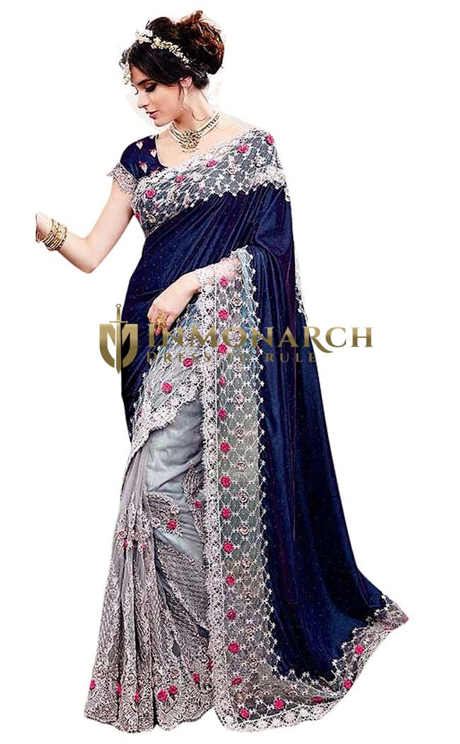 Partywear Silver and Navy Blue Saree