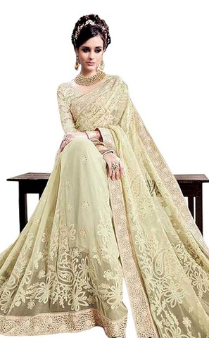 Traditional Net Cream Bridal Saree