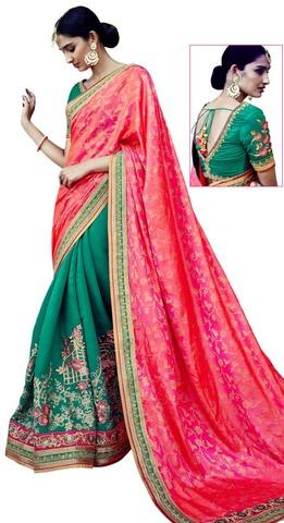 Green & Pink Silk Jacquard Bollywood Saree