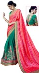Green & Pink Silk Jacquard Bollywood Saree