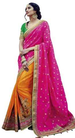 Pink And Orange Tussar Silk bollywood Saree