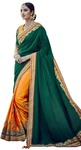 Yellow & Green Silk Partywear Saree
