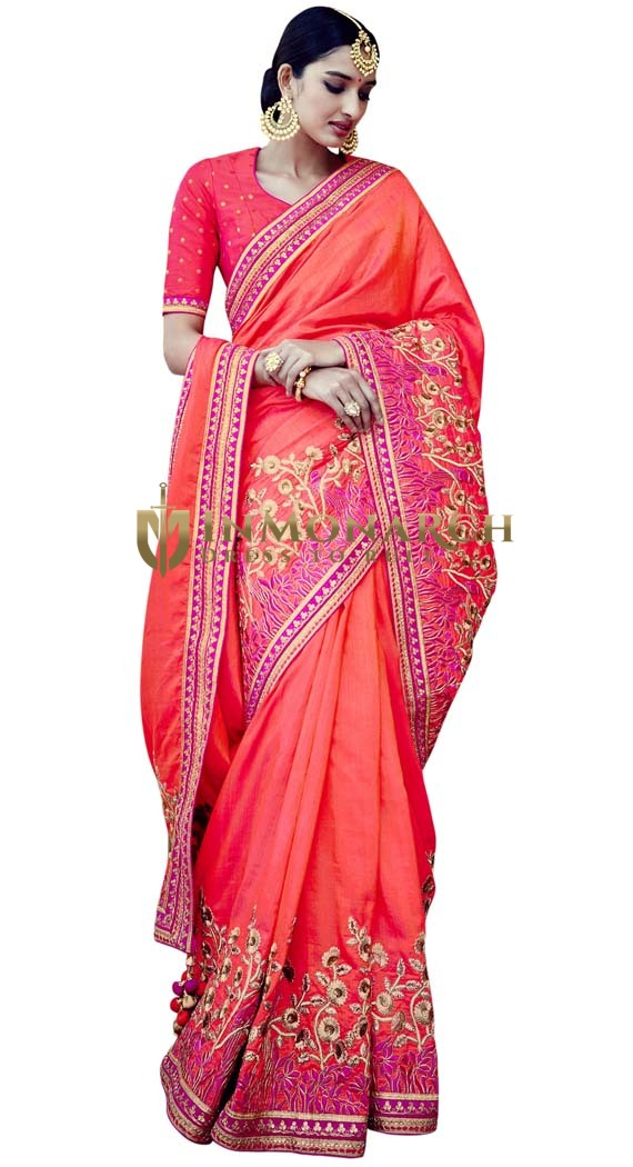 Salmon Tussar Silk Bridal Saree