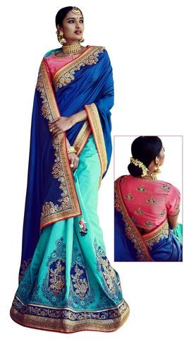 Blue And Cyan Silk Bollywood Saree