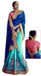 Blue And Cyan Silk Bollywood Saree