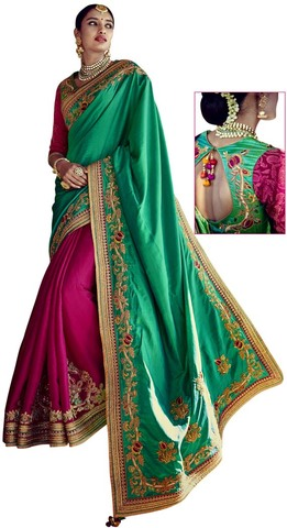Teal and Magenta Silk Bollywood Saree