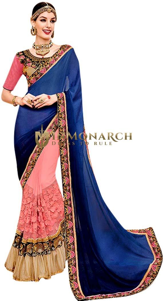 Pink & Navy Blue Georgette Designer Sari