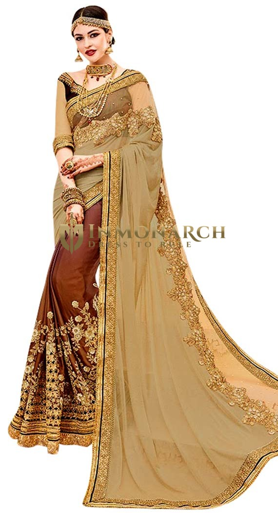 Beige & Brown Satin Silk Bridal Saree