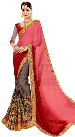 Gray and Red Crepe Bollywood Saree