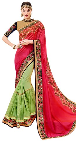 Green & Crimson Chiffon Georgette Saree