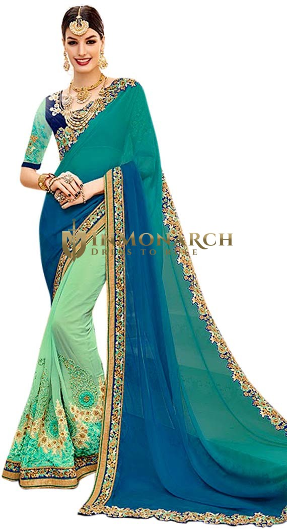 Green and Teal Georgette Bridal Saree