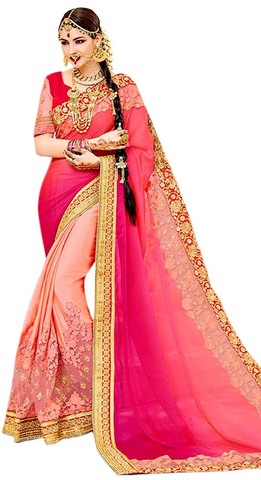 Salmon Two Tone Chiffon Bollywood Saree