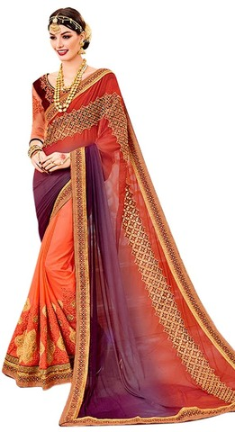 Two Tone Chiffon Salmon Partywear Saree