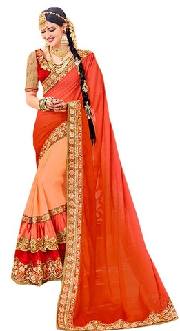 Peach Georgette Bollywood Saree